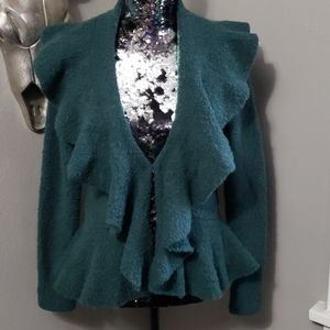 Moda International Ruffle Cardigan Sweater